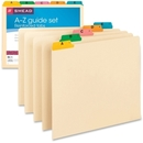 Smead 50180 Manila Guides with Alphabetic Indexed Sets, 25 x Tab - PrintedA - Z - 5 Tab(s)/Set - 25 / Set - Manila Divider - Multicolor Tab