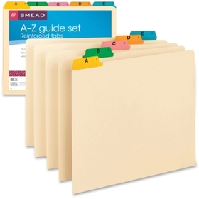 Smead A-Z Fused Vinyl Top-Tab Index Guides, 25 x Tab Printed A - Z - 25 Tab(s)/Set - 25 / Set - Manila Divider - Multicolor Tab, Price/ST