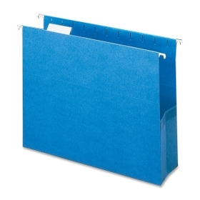 "Smead Hanging Pocket, Letter - 8.5"" x 11"" - 1/5 Tab Cut on Assorted Position - 3"" Expansion - 25 / Box - Sky Blue, Price/BX"