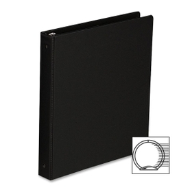 "Sparco SPR03002 Sparco Round Ring Binder, Statement - 5.50"" x 8.50"" Sheet Size - 3 x Round Ring Fastener - 1"" Binder Fastener Capacity - 2 Pockets - Vinyl - Black - 1 Each, Price/EA"