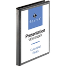 "Sparco Standard Presentation Binder, 0.50"" Binder Capacity - Letter - 8.50"" Width x 11"" Length Sheet Size - Ring Fastener - 2 Pockets - Black - 1 Each"