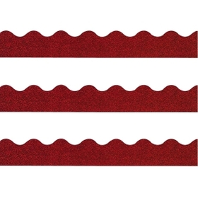 "Trend Terrific Trimmers Sparkle Trimmer, Rectangle Topped With Waves - 2.25"" x 32.5"" - Paper - Red, Price/EA"