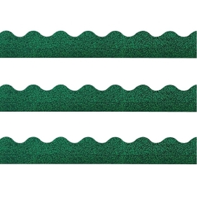 "Trend TEPT91411 Trend Terrific Trimmers Sparkle Trimmer, Rectangle Topped With Waves - 2.3"" x 32.5"" - Paper - Green, Price/EA"