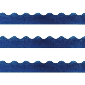 "Trend Terrific Trimmers Sparkle Trimmer, Rectangle Topped With Waves - 2.25"" x 32.5"" - Paper - Blue, Price/EA"