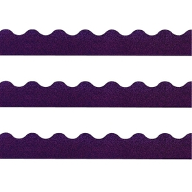 "Trend Terrific Trimmers Sparkle Trimmer, Rectangle Topped With Waves - 2.25"" x 32.5"" - Paper - Purple, Price/EA"