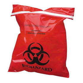 "Unimed-Midwest Stick-On Biohazard Infectious Waste Bag, 10"" x 9"" - 2mil Thickness - 100 / Box - Red, Price/BX"
