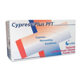Unimed-Midwest Cypress Plus Powder Free Textured Latex Examination Gloves, Large Size - Powder-free, Textured - Latex - 100 / Box, Price/BX