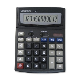"Victor VCT1190 Victor 1190 Desktop Display Calculator, 12 Character(s) - LCD - Solar, Battery Powered - 1.3"" x 6"" x 7.8"" - Black, Price/EA"