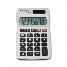 "Victor VCT700 Victor 700 Pocket Calculator, 4 Functions - 8 Character(s) - LCD - Solar, Battery Powered - 0.3"" x 2.3"" x 4"" - Gray, Price/EA"
