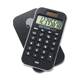 "Victor 900 Compact Handheld Calculator, 8 Character(s) - LCD - Solar, Battery Powered - 2.5"" x 4.25"" x 0.38"" - Black, Price/EA"