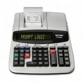 "Victor PL8000 Printing Calculator, 12 Character(s) - LCD - AC Supply Powered - 12"" x 8.5"" x 3.5"" - Gray, Price/EA"