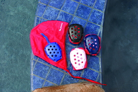 Sprint Aquatics 406 Water Polo Golie Cap, with an adjustable chinstrap