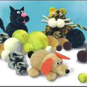 Variegated Animal Pom Poms (pk/300), Price/per pack