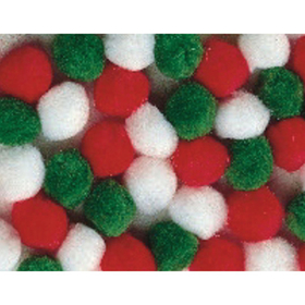 "Pom Poms, 1"" - Holiday Colors  (pk/50), Price/per pack"
