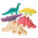 Unfinished Wooden Animal Puzzle - Dinosaurs, Unassembled