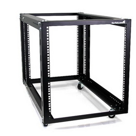 Startech 12U 4 Post Server Equipment Open Frame Rack with Adjustable Posts & Casters