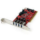 Startech PCIUSB3S4 4 Port PCI SuperSpeed USB 3.0 Adapter Card with SATA / SP4 Power