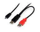 Startech 3 ft USB Y Cable for External Hard Drive - Dual USB A to Micro B
