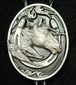 Siskiyou BTL9D Large Bolo - Horsehead in Horseshoe(Diamond Cut)