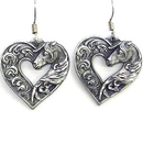 Siskiyou Buckle ER227 Dangle Earrings - Horse head Heart