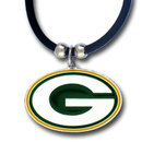 Siskiyou Buckle FPR115 Green Bay Packers Rubber Cord Necklace