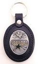 Siskiyou Buckle HL125 Large Leather & Pewter Team Key Fob - Stars