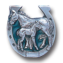 Siskiyou Buckle PN3018E Collector Pin - Mare with Foal in Horseshoe
