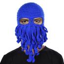 TOPTIE Unisex Blue Octopus Knit Beanie, Ski Mask