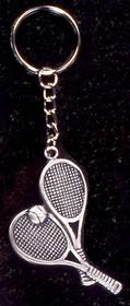 Pewter Crossed Racquet Keyring