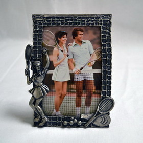 Pewter Picture Frame Lady Player