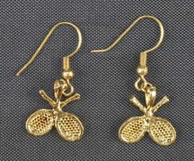 Crossed Racquets Earrings-Gold Plated