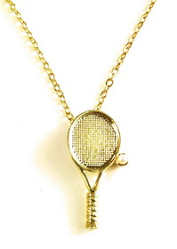Tennis Racquet Necklace W/Pearl (18)""