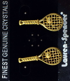 Tennis Racquet Earrings Two Tone Gold/Silver