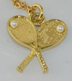 "Crossed Racquets Pendant w/18"" Chain"