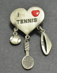 "Pewter ""I Heart Tennis"" Pin"