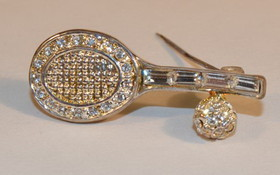 Racquet & Ball w/Crystal Pin Silver