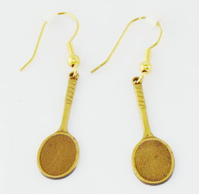 Brass Racquet Earrings Large
