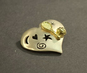 Pewter Heart w/Racquet & Ball Pin