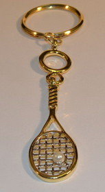 Gold Plated Racquet Keyring w/Pearl