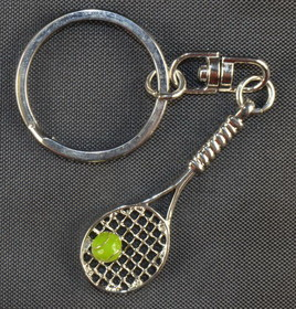 Silver Tennis Racquet w/Ball Key Ring