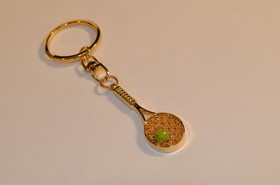 Tennis Racquet/Ball Keyring-Gold