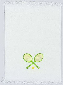 Clarke Towel-Crossed Racquets-Yellow/Green