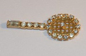 Tennis Racquet w/Crystals Pin