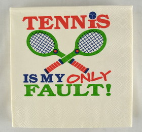 "Tennis Napkins ""Only Fault"" 3 Ply"