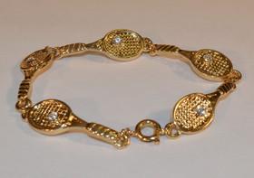 Racquet Link Bracelet w/Crystal