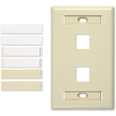 Signamax/AESP - 2 Port Single Gang Faceplate, Light Ivory