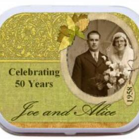 25th/50th wedding anniversary mint tins, party favors decorations