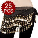 BellyLady Wholesale Lots Of 25 Gold Coins Zumba Hip Scarves