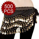 BellyLady Wholesale Lots Of 500 Gold Coins Zumba Hip Scarves