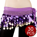 BellyLady Wholesale Belly Dance Hip Scarf - 30 Scarves, Gold Coins Lively Style